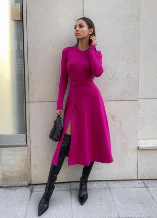 Женское платье в рубчик