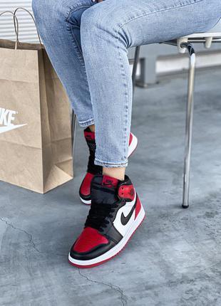Кроссовки кеды nike air jordan 1 black red кросівки кеди