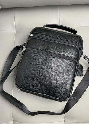 Hit продаж💣универсальная мужская кожаная сумка барсетка чёрная сумка на плечо натуральная кожа чоловіча сумка планшет чорна
