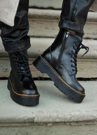 Dr.martens jadon zip premium  з замком женские кожаные ботинки весна осень
