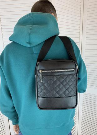 Мужская сумка через плечо, вместительная барсетка для документов, качественная черная планшетка
