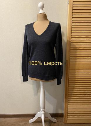 Uniqlo графитовый джемпер свитер (100% шерсть)