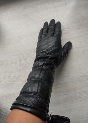 Женские удлинённые кожаные перчатки