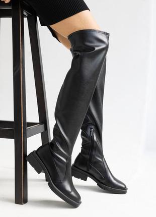 Женские ботфорты ботинки кожаные весна/осень черные на байке