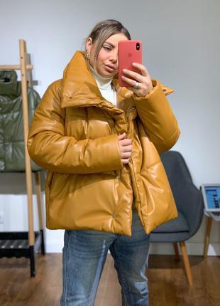Дутая куртка из экокожи   кожаная объемная куртка