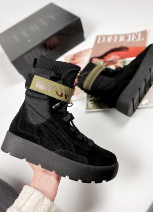 Женские замшевые черные стильные ботинки fenty x puma scuba boot black модні жіночі замшеві чорні ботінки