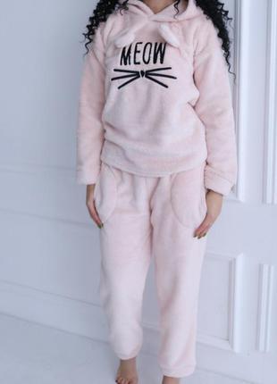 Махровая пижама штаны и кофта meow р.s, m, l.турция.