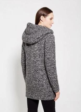Утеплённое буклированое пальто с капюшоном reserved 34/6/xs
