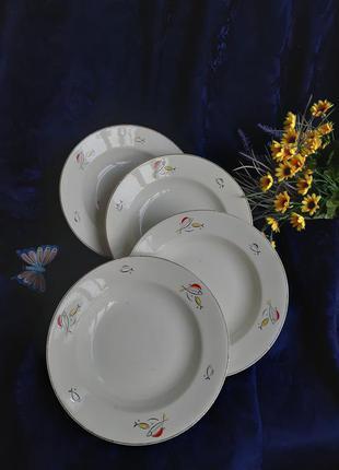 Набор глубоких порционных тарелок харьковский раднаргосп буды фаянс будянский фаянсовый завод ссср советские винтаж рыбы рыбки 1950-60 е годы