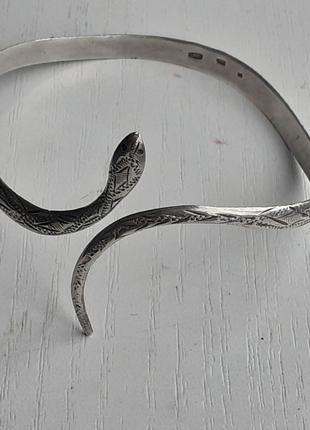 Винтаж серебряный браслет змейка