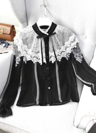 Рубашка в винтажнос стиле с рюшами