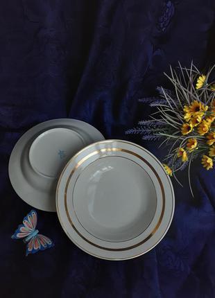 Тарелки глубокие порционные ссср дружковский фарфор советские с позолотой винтаж