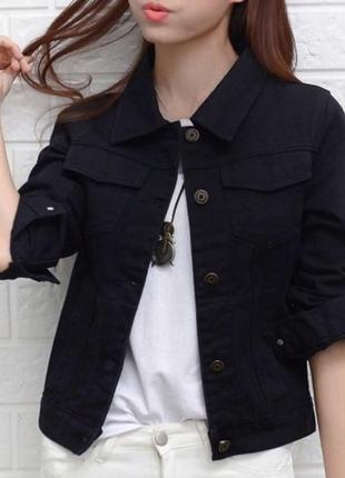 Чёрная куртка джинсовка, betty barclay, l-xl