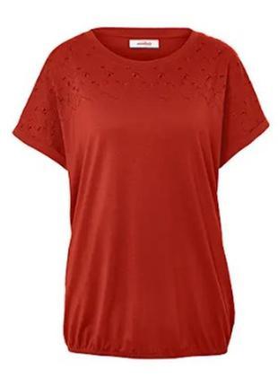Футболка блузка с вышивкой размер 54-58 наш tchibo тсм