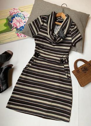 Платье офисное в полоску new look с большим воротником осеннее зимнее тёплое