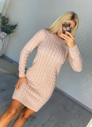 Женское платье, короткое платье, вязаное платье