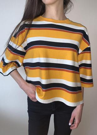 Хлопкова футболка/ кофта в полосатий принт розмір s