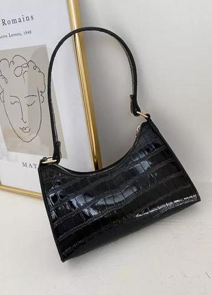Сумка сумочка черная чорна крокодил маленькая клатч багет виртаж ретро