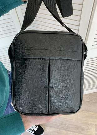 Мужская сумка через плечо, из зернистой кожи, вместительная барсетка для документов, черная