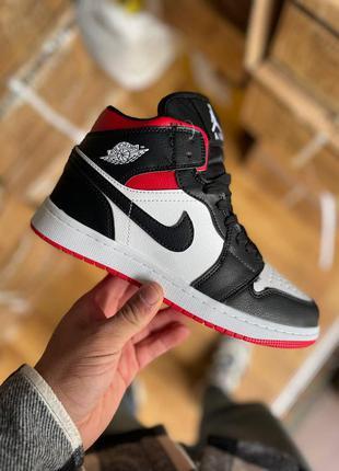 Кроссовки кеды nike air jordan 1 red black fur кросівки кеди