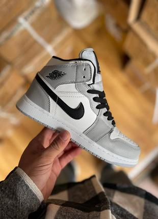 Кроссовки кеды nike air jordan 1 grey fur кросівки кеди
