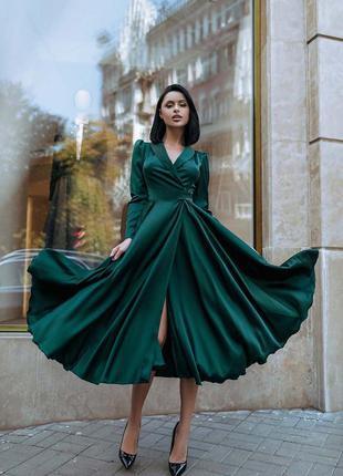 Шелковое платье миди на запах
