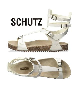 Schutz оригинал высокие сандалии босоножки гладиатор белые кожаные бренд из сша