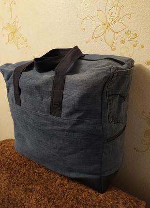 Большая джинсовая дорожная сумка. ручная работа.