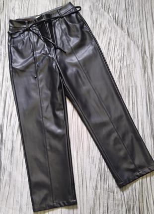 Укорочені штани брюки кюлоти зі штучної шкіри з високою посадкою