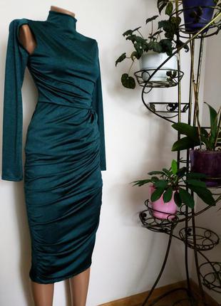 Нереально красивое,изумрудного цвета  платье миди