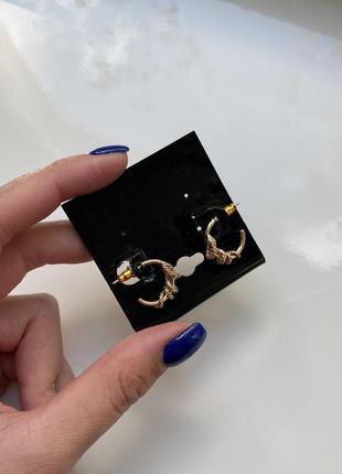 Новые золотистые серьги, сережки змеи