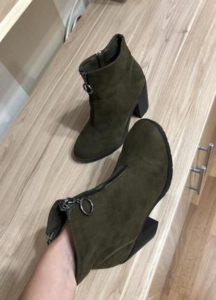 Сапоги сапожки ботинки на каблуке осенние демисезонные на осень 36 37 размер