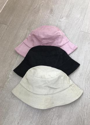 Вельветовая чёрная панамка, панама шляпа осенняя