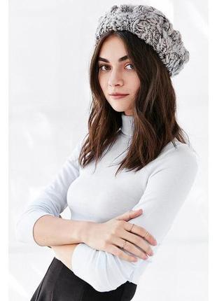 Серый вязанный берет, шапка (30% шерсти), крупная вязка