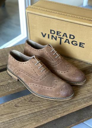 Замшевые броги туфли с перфорацией dead vintage