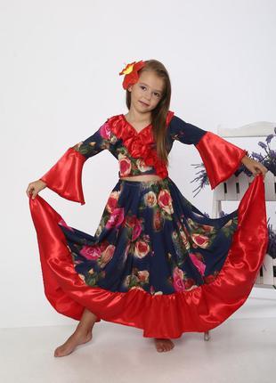 Детский маскарадный костюм для девочки цыганочка цыганка юбка кофта бант