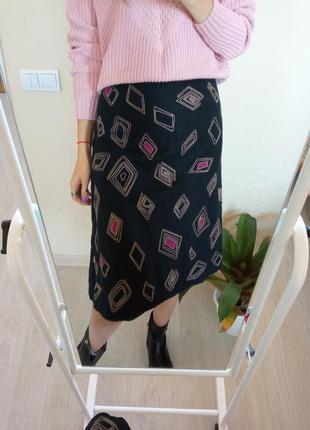 Стильная юбка из плотного льна laura ashley/спідниця💕