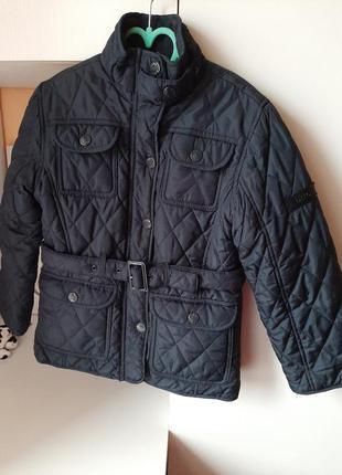 Куртка курточка пальто пуховик парка деми демі осіння демисезонна осиння базова класична темно синя перешита з кишенями поясом
