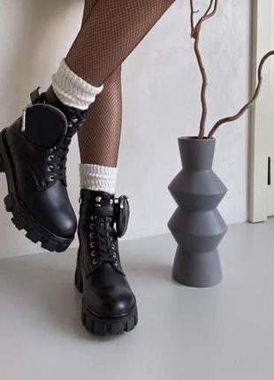 Чёрные ботинки демисезонные со съемным кошельком эко кожа