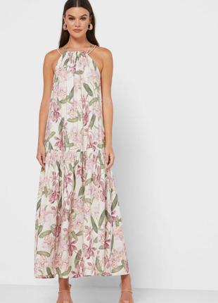 Mango новое с этикетками шикарное платье макси в цветочный принт волан по низу