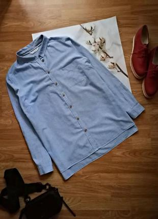 Женская натуральная хлопковая брендовая голубая рубашка f&f - размер 50