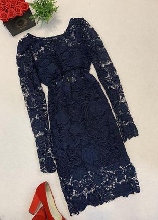 Женское нарядное стильное гипюровое платье с длинным рукавом 🔝