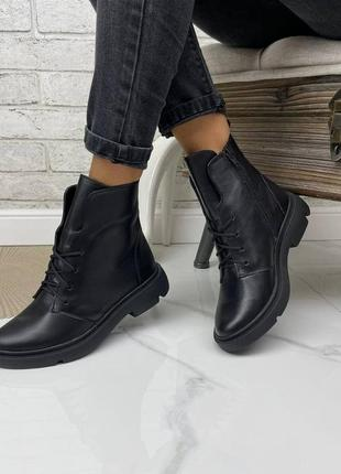 36-41 рр деми/зима ботинки на низком ходу натуральная замша/кожа