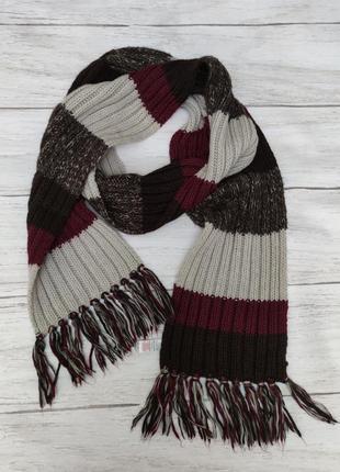 Длинный полосатый шарф шерсть