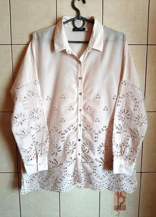 Нежно-розовая хлопковая рубашка из шитья