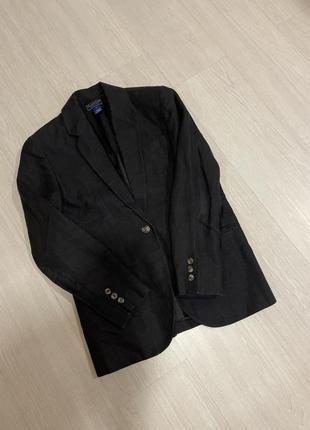 Пиджак жакет льняной чёрный пиджак базовый