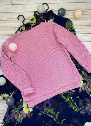 Шикарный розовый котоновый свитер m&s