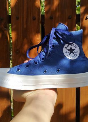 Кеды синие высокие converse chuck taylor 2 lunarlon