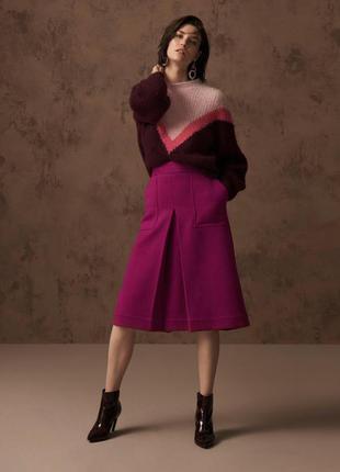 Новая с биркой шерстяная юбка миди цвета фуксии marks&spenser размер 20/22 батал
