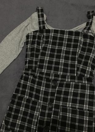 Теплий сарафан в клітинку (платье)